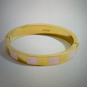 J Crew Enamel Pink/Gold Hinge Bracelet NWT